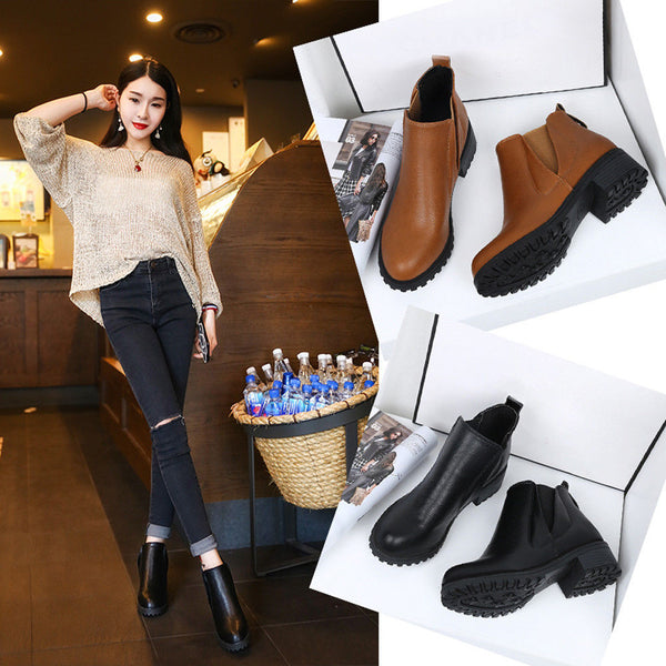 Women Winter Shoes Fashion Boots Thick Bottom Leather Woman Martin Snow Boots