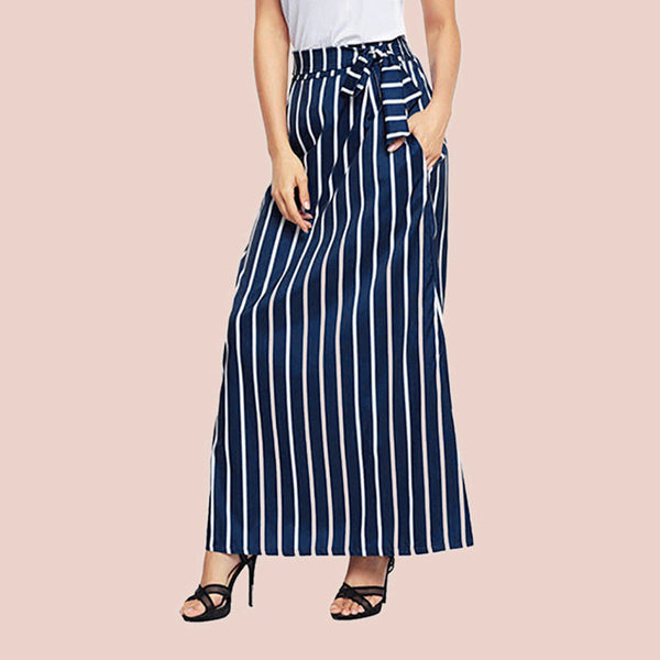 Fashion Women Striped Full-length Maxi Skirt High Waist Casual Long Dress New US