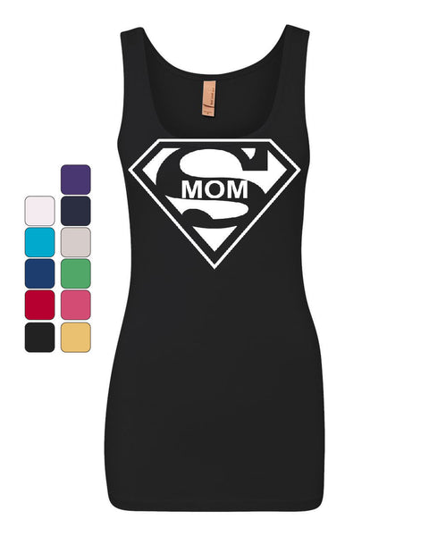 Super Mom Funny Women's Tank Top Superhero Parody Mother's Day Top
