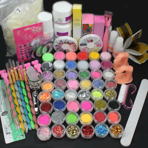 Nail Art Tool Set Acrylic Liquid Powder Brush Buffer Glitter Strips DIY Tool Kit