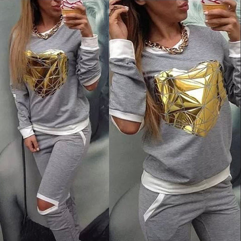 Fashion Women 2pcs Tracksuit Sweats Sweatshirt Pants Sets Sport Wear Casual Suit