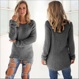 Fashion Women Casual Solid Long Sleeve O-Neck Jumper Sweaters