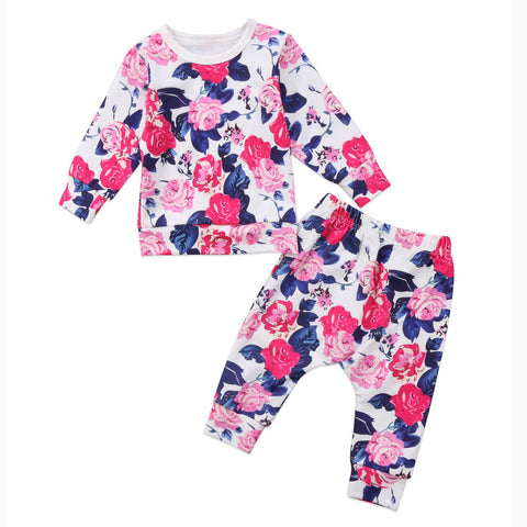 US Stock Newborn Baby Girl Flower Outfit Clothes Tops T shirt Leggings Pants res