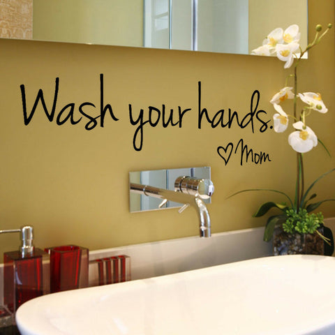 Wash Your Hands Mom Home Decor Wall Sticker Decal Bathroom Vinyl Art Mural VS