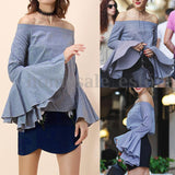 Elegant Fashion Women's Bell Sleeve Loose Blouse Off Shoulder Casual Tops Shirt