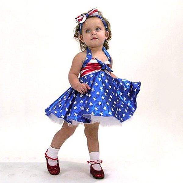 Toddler Baby Girls Star 4th Of July Bowknot Straps Dress Striped Tutu Clothes