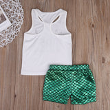Mermaid Toddler Girls Kids Vest+Shorts Pants Outfits Kids Clothes Age 1-6T