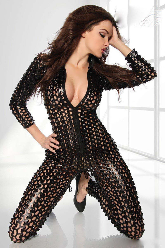 Womens Slit Elastic Fishnet Bodycon Jumpsuit Romper Cocktail Party Clubwear new