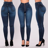 Women High Waisted Skinny Denim Jeans Stretch Button Pants Calf Length Jeans