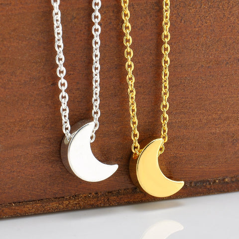 Stylish Silver Gold Chain Crescent Moon Star Pendant Charming Necklace Jewelry