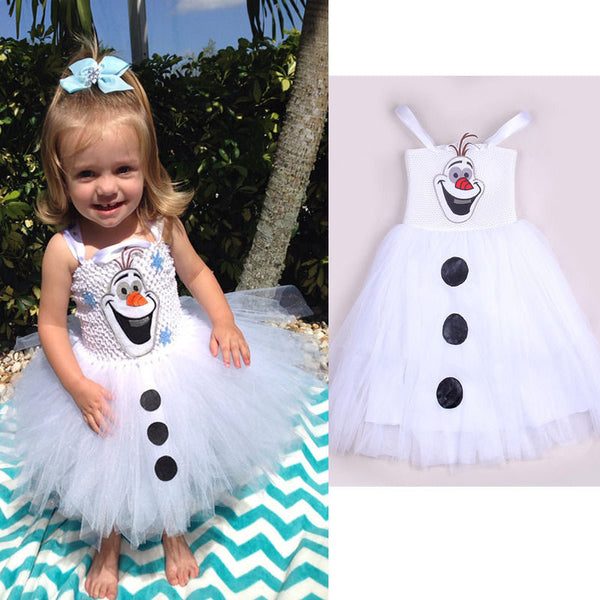 2015 Cartoon Snowman Olaf Costume Kids Girls Baby Tulle Fancy Gown Tutu Dresses