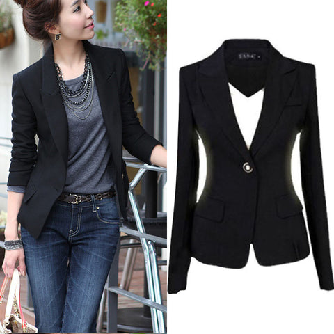 US Women's One Button Slim Casual Business Blazer Suit Jacket Coat Outwear Tops