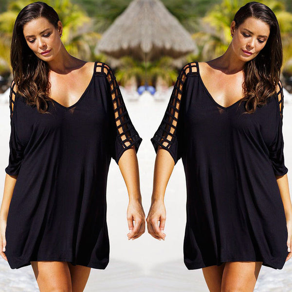 US Women Plus Size Beachwear Beachwear Bikini Cover Up Kaftan Ladies Mini Dress