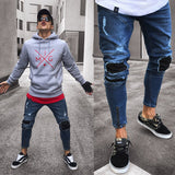 USA STOCK Men Stretchy Ripped Jeans Skinny Jeans Destroyed Taped Slim Denim Pant
