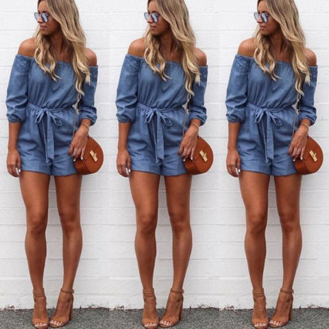 Womens Bodysuit Off Shoulder Mini Playsuit Ladies Summer Shorts Cowboy Jumpsuit