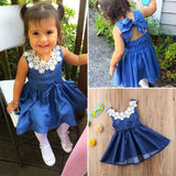 Kids Baby Girls Clothes Summer Lace Floral Denim Princess Party Dress Sundress