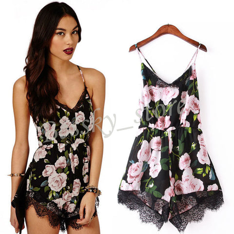 Chic Women Floral Lace Chiffon Bodycon Jumpsuit Party Playsuit Romper Hot Pants
