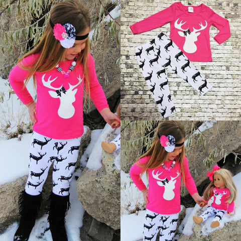 2pcs Infant Kid Baby Girls Outfits T-shirt Tops +Leggings Pants Clothes XMAS Set