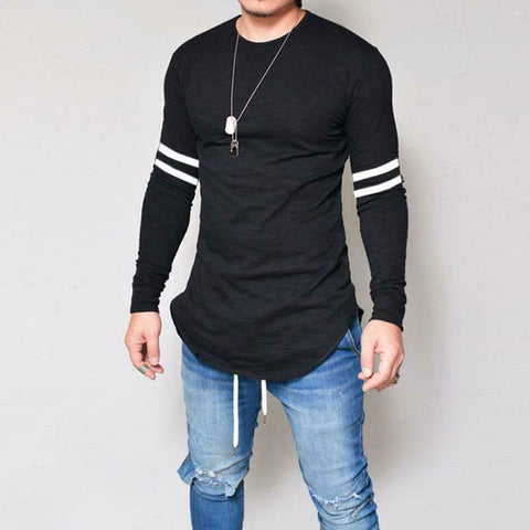 US Basic Mens Stylish Shirt Round Neck Cotton Long Sleeve Swag Curve Hem T-Shirt
