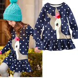 Cute Deer Polka Dots Girls Dress Children Kids Clothing Long Sleeve Tops T-Shirt