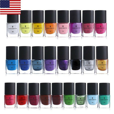 25 Bottles/Set BORN PRETTY Nail Art Stamping Polish Template Painting Manicure