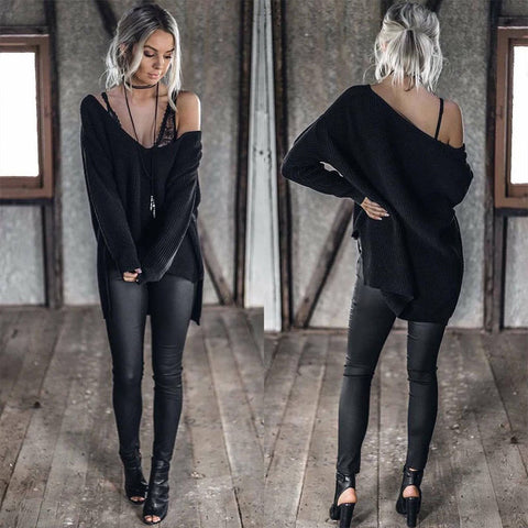 Oversized Women Off The Shoulder Jumper Top V Neck Loose Sweater Pullover Blouse