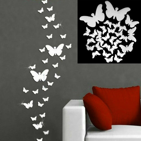 36Pcs 3D Mirror Butterfly Wall Stickers Decal Wall Art Kid Room Party Decor Home