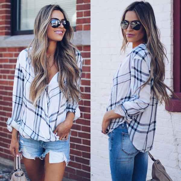 US STOCK Womens Plaid Casual V-Neck Shirt Long Sleeve Blouse Summer T-Shirt Tops