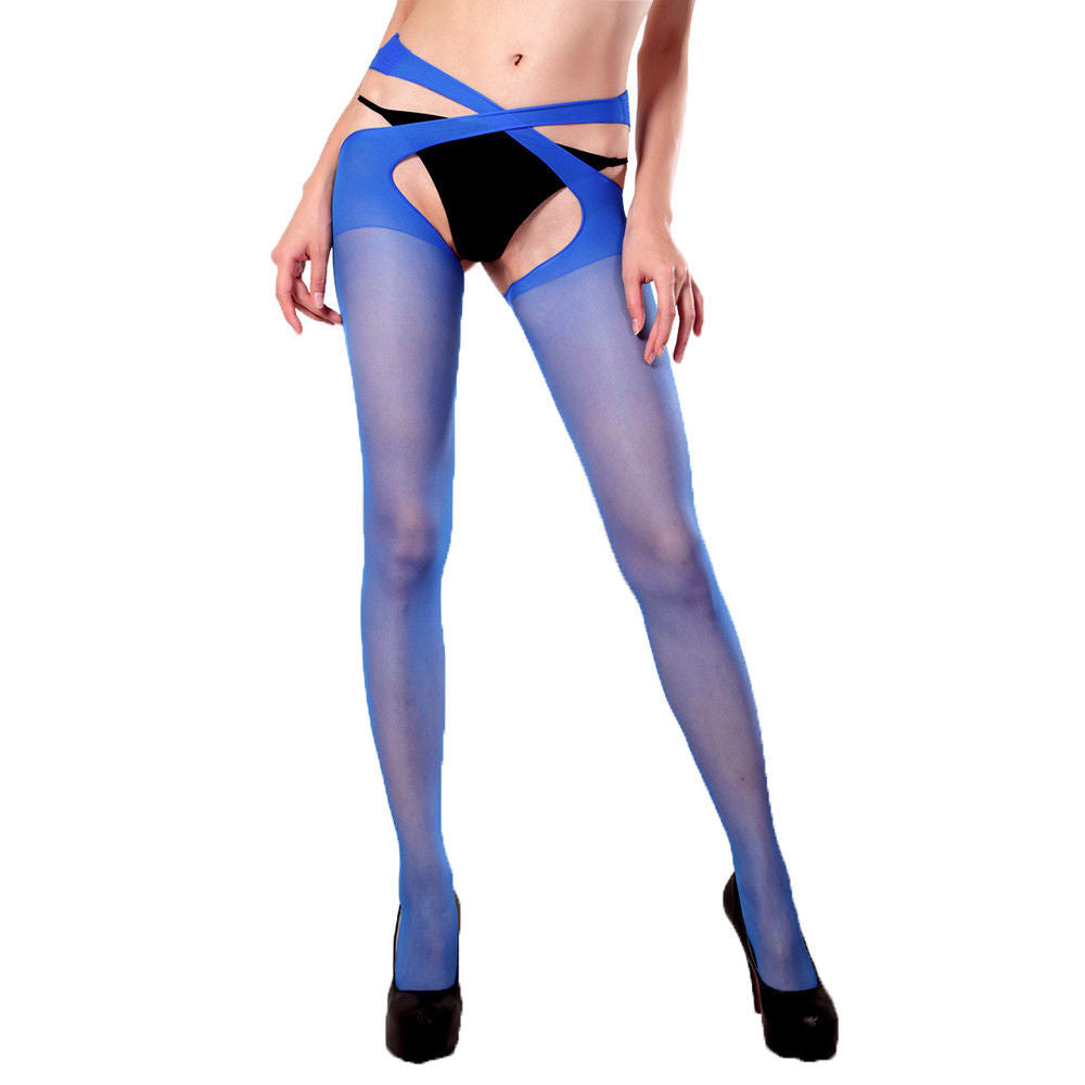 a22dda14e ... Womens Lady Stockings Tights Cross Open Stockings Pantyhose Tights  Suspender Hot ...