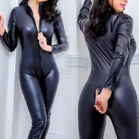 Sexy Women Wetlook Faux Leather Bodysuit Zip Uniform Clubwear Catsuit Jumpsuit