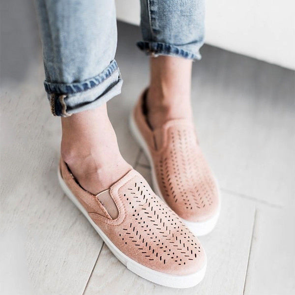 New Women Casual Canvas Hollow Out Round Toe Flat Heel Slip On Loafer Shoes Size