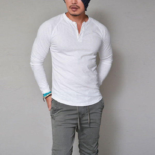 Fashion Men's Slim Fit V Neck Long Sleeve Muscle Tee T-shirt Casual Tops Blouse