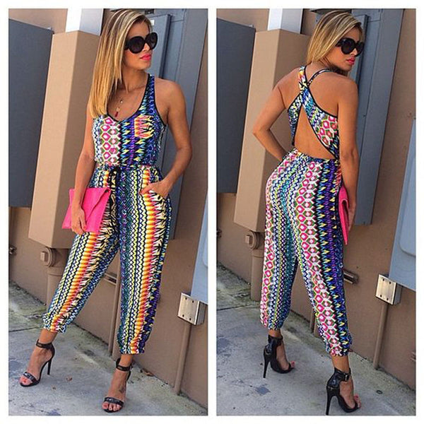 USA Women Clubwear Summer Playsuit Bodycon Jumpsuit Backless Romper Trousers