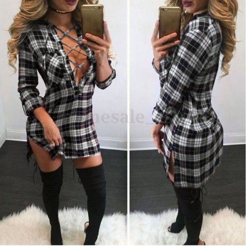 Plus Size Womens Casual Shirt V Neck T-Shirt Lace-up Check Mini Dress Top Blouse