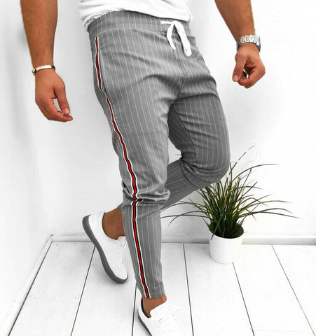 Men Striped Slim Fit Trousers Tracksuit Bottoms Skinny Joggers Sweat Track Pants