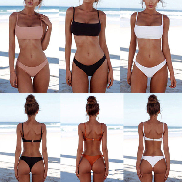Brazilian Women Bikini Set Push-up Padded Bra Bandage Beach Swimsuit Swimwear LC