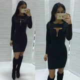 US STOCK Women Bandage Bodycon Long Sleeve Slim Evening Party Cocktail Dress