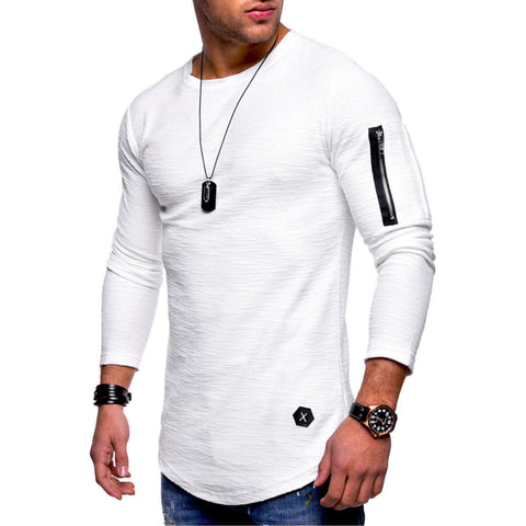 Muscle Men's Crew Neck Zipper Long Sleeve Casual Tops Shirts Slim Skinny T-shirt