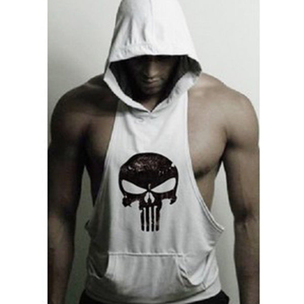 Hot Men Gym Clothing Stringer Hoodie Bodybuilding Tank Top Muscle Hooded Shirt