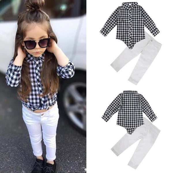 Toddler Kids Baby Girls Outfits Clothes T-shirt Blouse Tops +Long Pants 2PCS Set