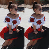 US STOCK Summer Off Shoulder Tops Baby Kid Girls Party Dress Mini Skirts Outfits