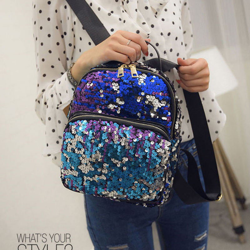 US Women Leather Travel Satchel Sequin Shoulder Backpack School Rucksack Bag Y