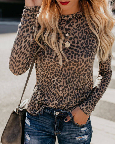 Fashion Women Ladies Leopard Print Crew Neck Loose Casual T-Shirt Blouse Tops US