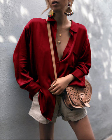 US Women Long Sleeve V-neck Loose Tops T Shirt Ladies Pure Color Casual Blouse