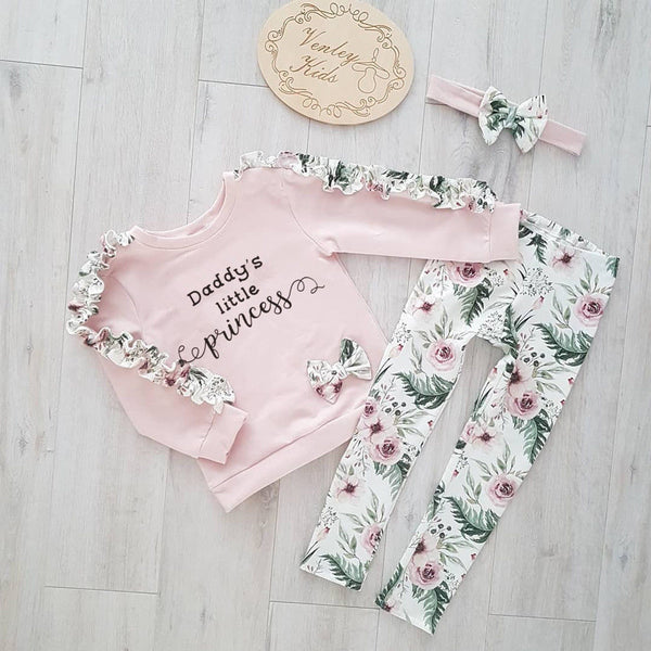 US Toddler Kids Baby Girl Floral Outfit Clothes T-shirt Tops+Long Pants 3PCS Set