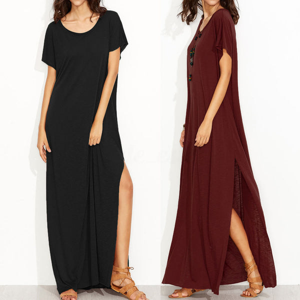 ZANZEA Womens T-Shirt Dress Short Sleeve Loose Solid Long Maxi Dress Plus Size