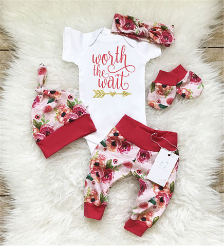 USA Newborn Baby Girl Worth the Wait Tops Romper Pants Floral Coming Home Outfit