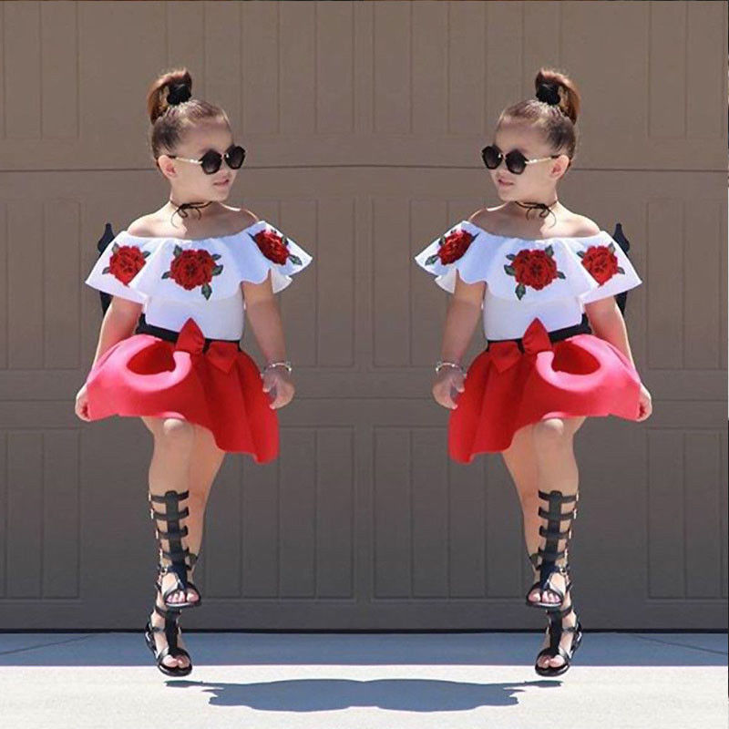 e1b4aa483476dc ... US STOCK Summer Off Shoulder Tops Baby Kid Girls Party Dress Mini  Skirts Outfits ...