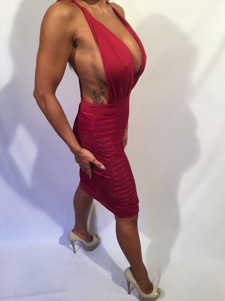 Connie's Deep Plunge Halter w/ built in Bodysuit Red Mini See Thru Dress  M