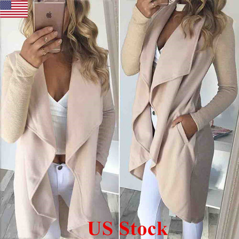US Womens Knitted Long Jumpers Jackets Overcoat Ladies Knitwear Cardigan Coats